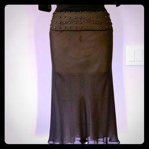 Silk bias skirt with studs.